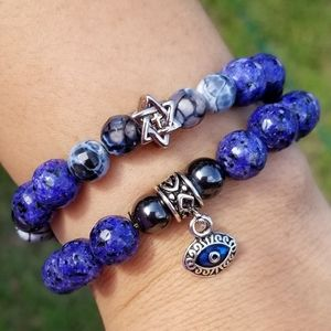 Star of David & Evil eye set of Bracelets